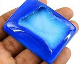 Genuine 257.00 Cts Blue Druzy Cab