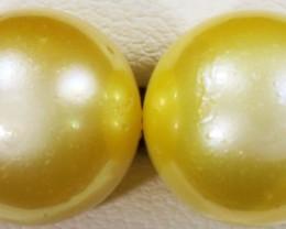 11 MM Golden Natural Pair Pearls  SB 437