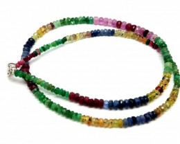 42CM LINE RUBY,EMERALD,SAPPHIRE FACETED BEADS NECKLACE 60 CARATS 3X4X2MM
