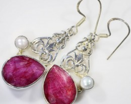 38 CTS RUBY WITH PEARL EARRINGS SB 455