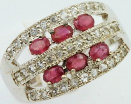SIZE 10 RUBY SET IN SILVER  RING SB 458