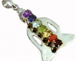 MIXED GEMSTONES  PENDANT TOP SB 461