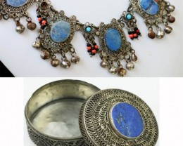 ANTIQUE LAPIS LAZULI NECKLACE WITH BOX SB  504