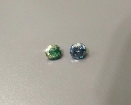 0.21 & 0.15 cts Round Fancy GREEN BLUE DIAMOND