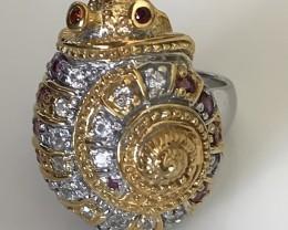 Incredible Artisan Ring - L'escargot - Rhodolite Topaz Ring size 8.5