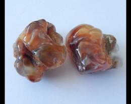 2pcs Natural Fire Agate Gemstone Specimens,104.5ct