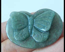 42.85Ct Natural Green Avernturine Butterfly Gemstone Carving - Cabochon