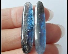 25 Ct Natural Blue Kyanite Cabochons,2PCS