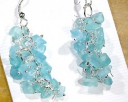 49.95CTS APATITE EARRINGS NEON BLUE UNTREATED SG-2268