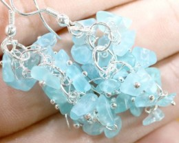 49.95CTS APATITE EARRINGS NEON BLUE UNTREATED SG-2282