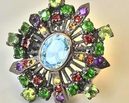 Medieval Style Topaz Citrine Peridot Tsavorite Garnet Ring Size 7.5