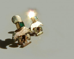 18K  Gold Pre-Colombian Style  Emerald Earrings