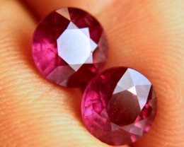 7.20 Tcw. Matched Ruby Pair - Fiery Beauty - 9mm