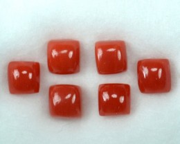 UNHEATED 5.14 Cts Natural Italian Red Coral (5 mm) 6 Pcs Parcel