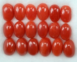 UNHEATED 5.10 Cts Natural Italian Red Coral (5x3 mm) 18 Pcs Parcel