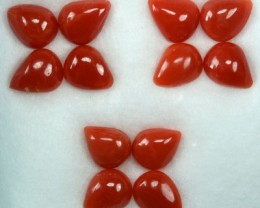 UNHEATED 5.00 Cts Natural Italian Red Coral (6x5 mm) 12 Pcs Parcel