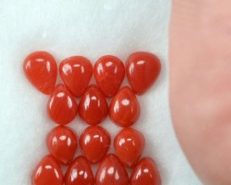 UNHEATED 5.00 Cts Natural Italian Red Coral (5x4 mm) 7 Pcs Parcel