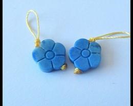 8.5Ct Natural Lapis Lazuli Flower Earring Beads