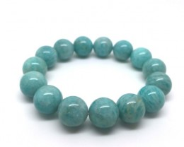 14 mm Natural Mozambique Amazonite Round Beads Stretch Bracelet 54 Gram