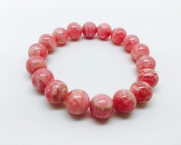 11mm Natural Rhodochrosite Bracelet Round Bracelet Beads Stretchable 42 Gra