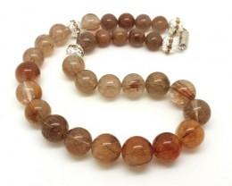 Natural Rutilated Quartz Necklace Round Beads Necklace 17 inch 74 gram Spac