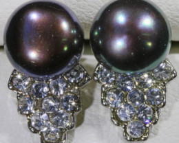 8mm black fresh water  Pearl Earrings PPP 1234