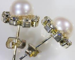8 mm Natural Pearl Earrings ppp 1247