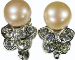 french clip Natural Pearl Earrings PPP 1248