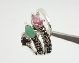 925 Sterling Silver Ruby,Emerald & Sapphire Beautiful Wedding Fashion R