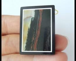 60Ct Natural Ocean Jasper,Obsidian Intarsia Gemstone Pendant Bead(B1804300)