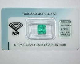 Natural Colombian Emerald 2.73 Cts - IGI Certified - Emerald Cut