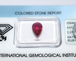 Natural Burma Ruby 2.07 Cts - IGI Certified - Pear Shape Burma