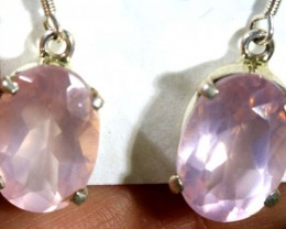 25.8 CTS  ROSE QUARTZ CRYSTAL HOOK EARINGS    SG-2357