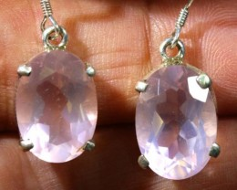 27 CTS  ROSE QUARTZ CRYSTAL HOOK  EARINGS    SG-2358