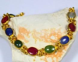 61.20Ct Burmese Jade Sapphire Ruby Gold Plated Bracelet