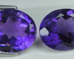 8.55 Cts Magnificient Top Sparkling Intense-Amethiyst oval 2 pcs