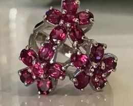 Daisy Rapturous Raspberry Rhodolite Garnet Ring Size 7