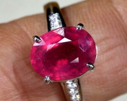 16.5 CTS  RUBY 18K WHITE GOLD RING SG-2376