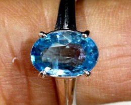 14.2 CTS  BLUE TOPAZ 18K WHITE GOLD RING  SG-2378