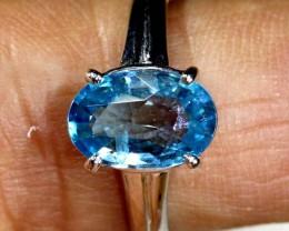 14.2 CTS  BLUE TOPAZ 18K WHITE GOLD RING  SG-2378