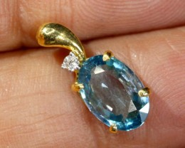 4.5 CTS  BLUE TOPAZ 18K YELLOW GOLD PENDANT  SG-2389