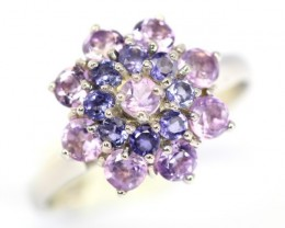 14.66Ct Stamped 925 Silver Ring Sz 8 / Amethyst / Blue Iolite