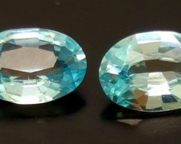 2CT BLUE ZIRCON OVAL FACETED PAIRS FOR SALE