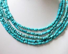 350 Cts  FIVE strand Turquoise 40 cm length GOGO 1239