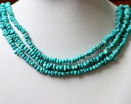 250 Cts  THREE strand Turquoise 40 cm length GOGO 1240