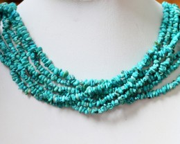 320 Cts  SEVEN strand Turquoise 40 cm length GOGO 1243