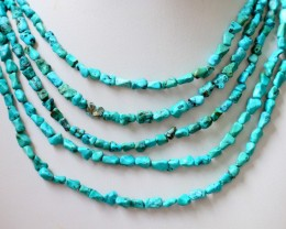 400 Cts  Five strand Turquoise 40 cm length GOGO 1251
