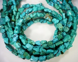 390 Cts  Three strand Turquoise 40 cm length GOGO 1252