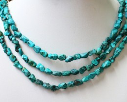300 Cts  Three strand Turquoise 40 cm length GOGO 1253
