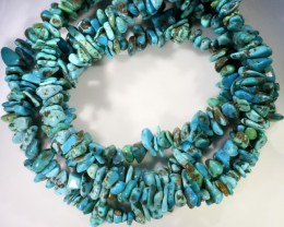 340 Cts  Five strand AfricanTurquoise 40 cm length GOGO 1256